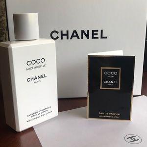 CHANEL empty box & lotion bottle, vellum + sample!